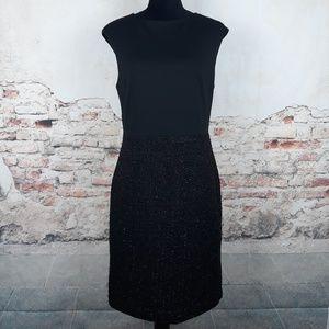 Ann Taylor 8 Black Silver Metallic Tweed Dress